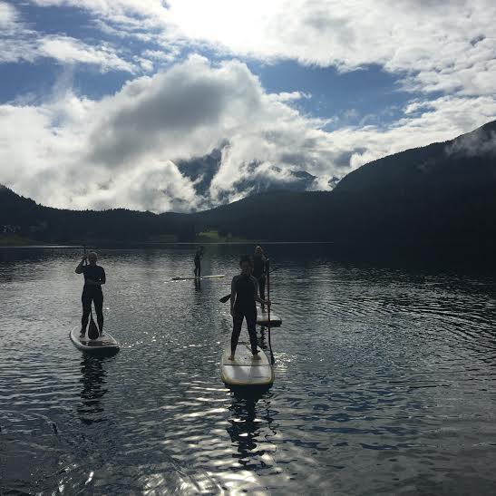 Paddle boarding. Lake St.Moritz